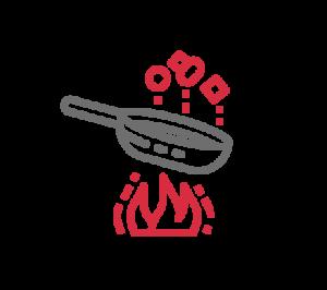icono de sartén con comida para formación y confección de recetas